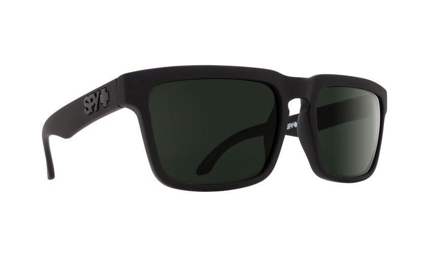 Spy Optic Spy Helm Sunglasses Soft Matte Black Frame Happy Grey Green Lens