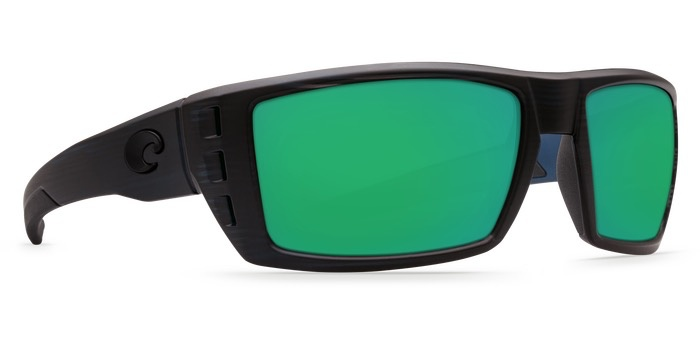 COSTA Costa Del Mar Rafeal Matte Black Teak Green Mirror 580G Sunglasses