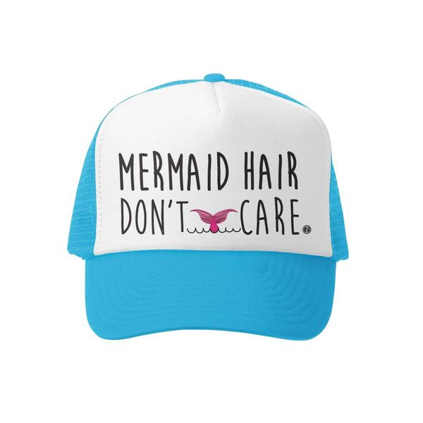 MERMAID HAIR DONT CARE TRUCKER HAT - AQUA