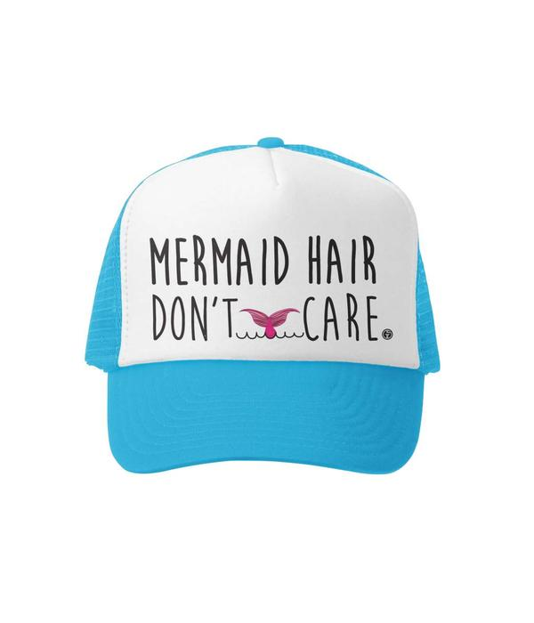 GROM SQUAD MERMAID HAIR DONT CARE TRUCKER HAT - AQUA