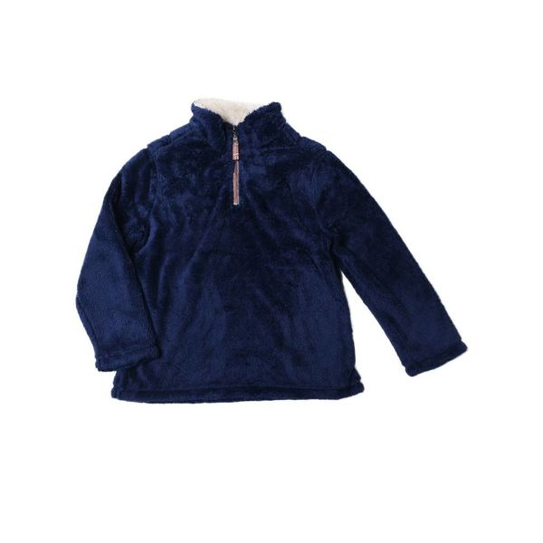 DOUBLE PLUSH 1/4 ZIP PULLOVER - VINTAGE BLUE