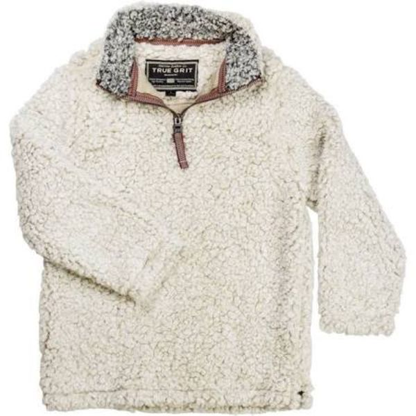 FROSTED TIP ZIP PULLOVER - PUTTY