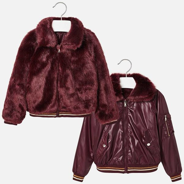 JUNIOR GIRLS REVERSIBLE COAT WITH FAUX FUR- SANGRIA