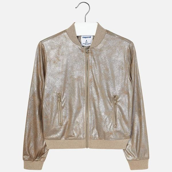JUNIOR GIRLS METALLIC FAUX SUEDE JACKET - CHAMPAGNE