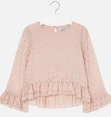 MAYORAL JUNIOR GIRLS CHIFFON BLOUSE WITH POLKA DOTS - NUDE