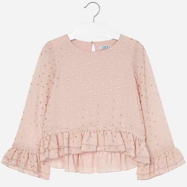 JUNIOR GIRLS CHIFFON BLOUSE WITH POLKA DOTS - NUDE
