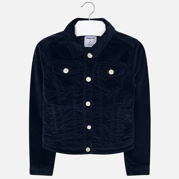 JUNIOR GIRLS VELVET JACKET - NAVY