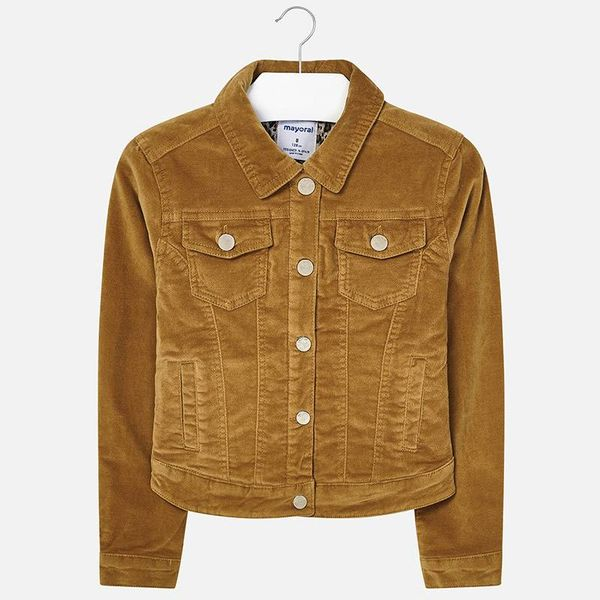 JUNIOR GIRLS VELVET JACKET - MUSTARD