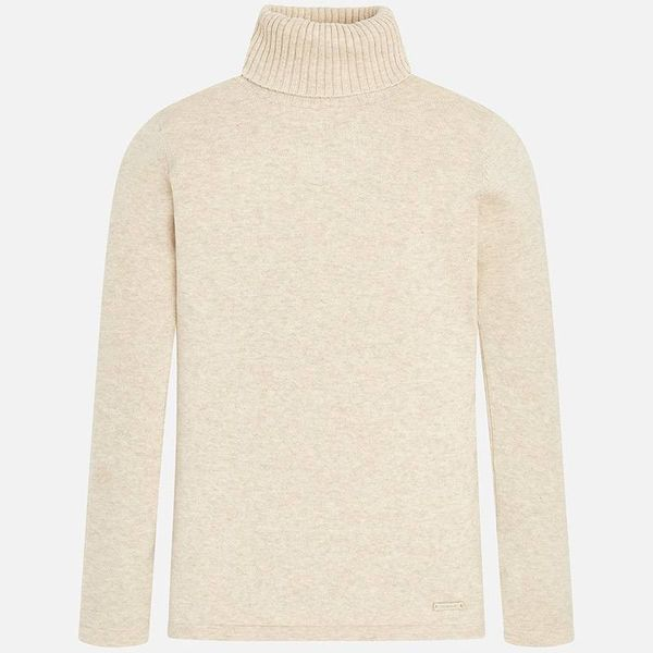 JUNIOR GIRLS KNIT TURTLENECK JUMPER - LINEN