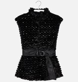 MAYORAL JUNIOR GIRLS FAUX FUR AND SEQUIN VEST - BLACK