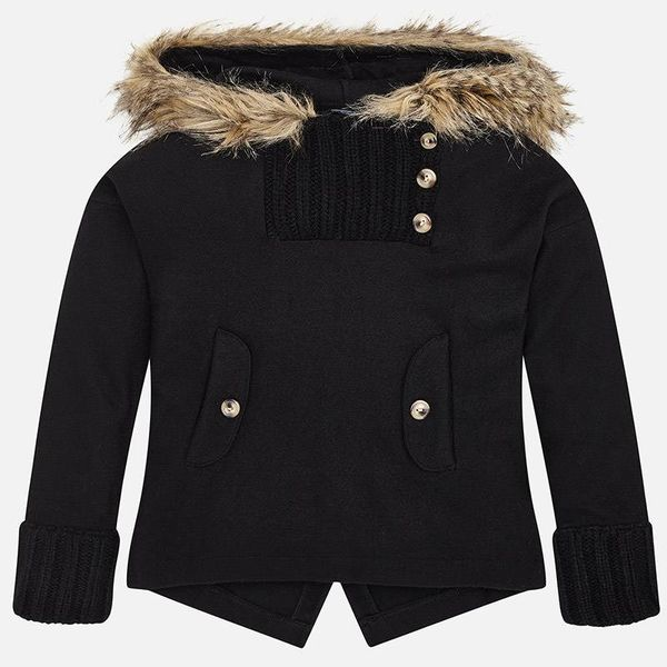 JUNIOR GIRLS JUMPER WITH FAUX FUR HOOD - BLACK