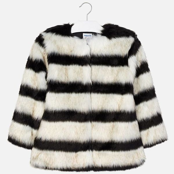 JUNIOR GIRLS FAUX FUR COAT - BLACK