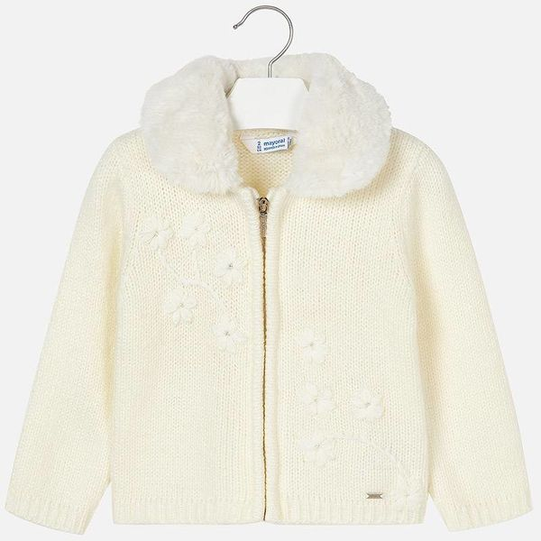 PRESCHOOL GIRLS EMBROIDERED KNIT JACKET - NATURAL