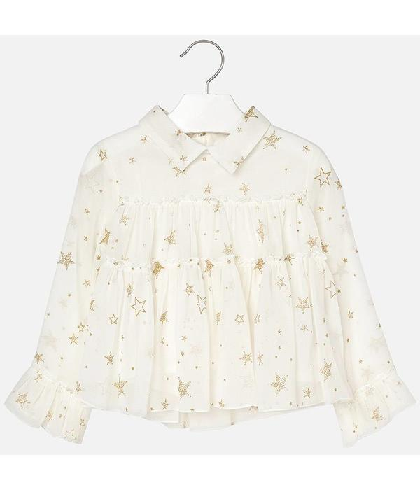 MAYORAL PRESCHOOL GIRLS STAR PRINT CHIFFON BLOUSE - NATURAL