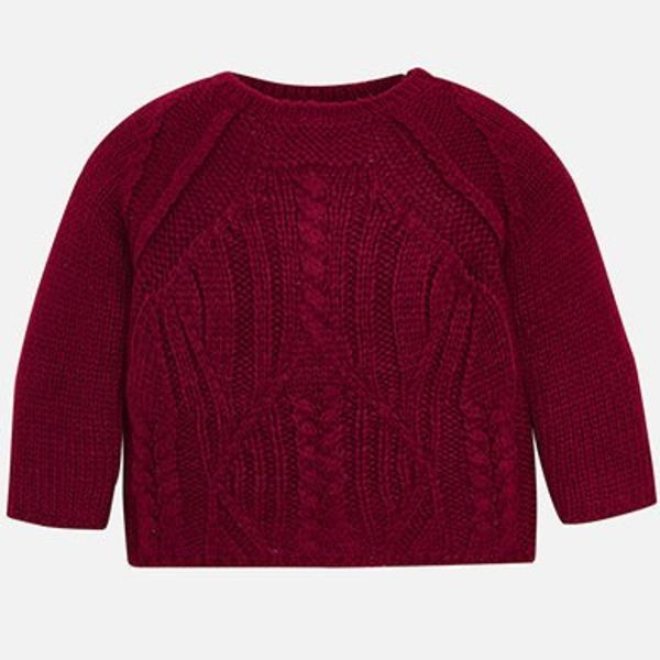 PRESCHOOL GIRLS CABLE KNIT JUMPER - RASPBERRY