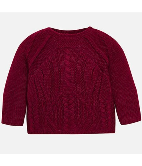 MAYORAL PRESCHOOL GIRLS CABLE KNIT JUMPER - RASPBERRY