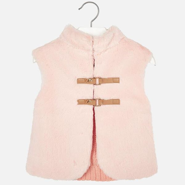 PRESCHOOL GIRLS KNIT AND FAUX FUR VEST - NUDE