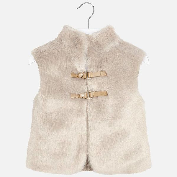 PRESCHOOL GIRLS KNIT AND FAUX FUR VEST - STONE