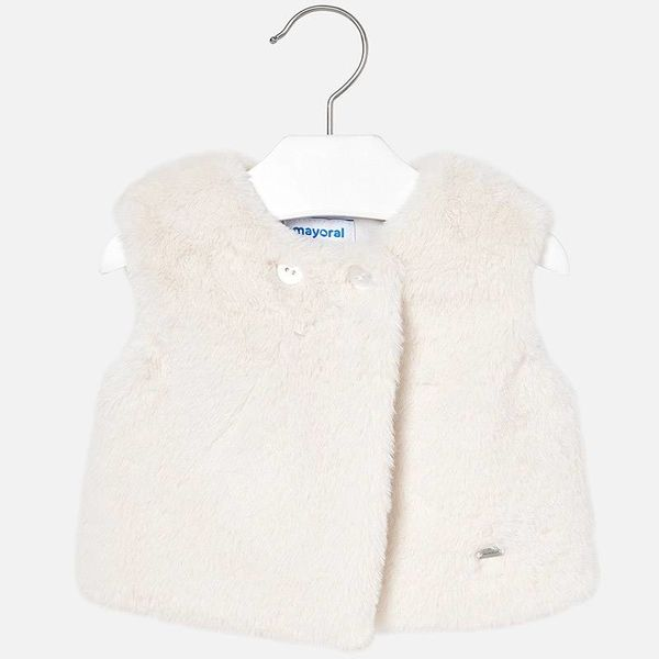 INFANT GIRLS FAUX FUR VEST - LINEN