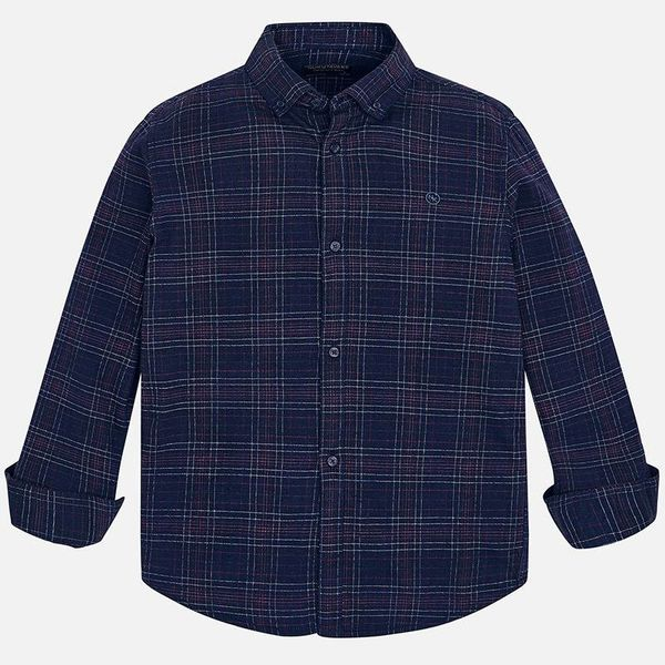 JUNIOR BOYS CHECKED LONG SLEEVED SHIRT - NAVY