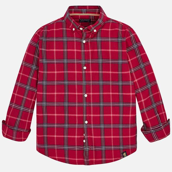 JUNIOR BOYS TWILL LONG SLEEVED SHIRT - CERISE - SIZE 18 ONLY