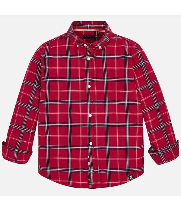 MAYORAL JUNIOR BOYS TWILL LONG SLEEVED SHIRT - CERISE