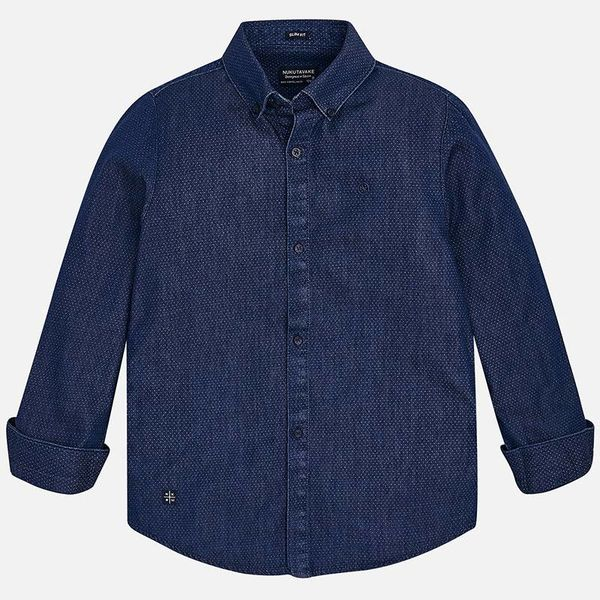 JUNIOR BOYS LONG SLEEVED PATTERENED DENIM SHIRT - BLUE JEANS - SIZE 8 ONLY