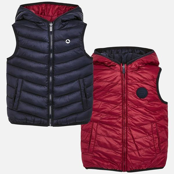 PRESCHOOL BOYS PADDED REVERSIBLE VEST - RED WINE