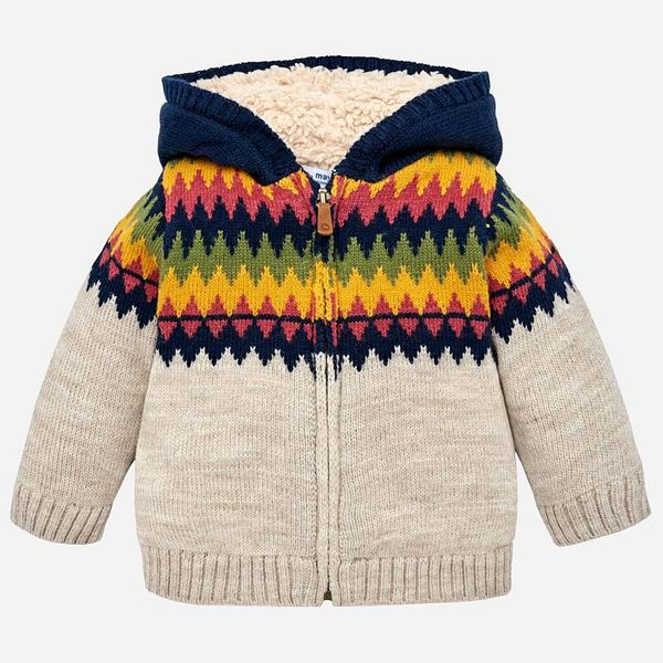 INFANT BOYS KNITTED JACQUARD HOODED CARDIGAN - BEIGE