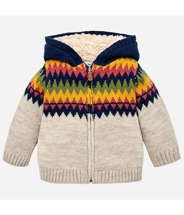 MAYORAL INFANT BOYS KNITTED JACQUARD HOODED CARDIGAN - BEIGE
