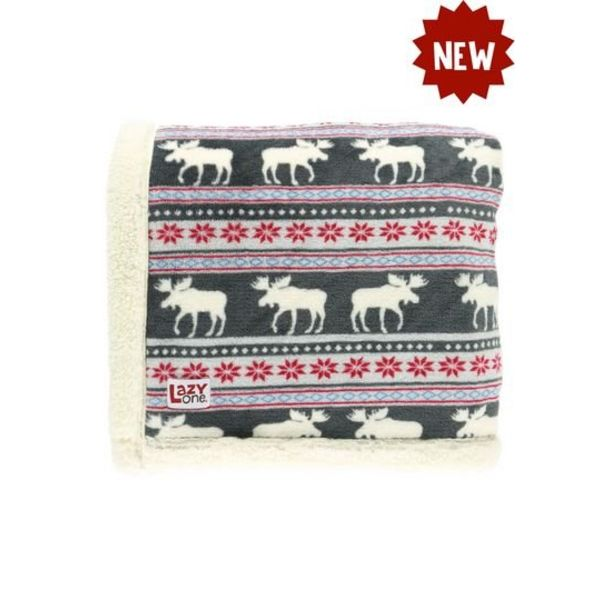 SHERPA THROW BLANKET MOOSE FAIR ISLE
