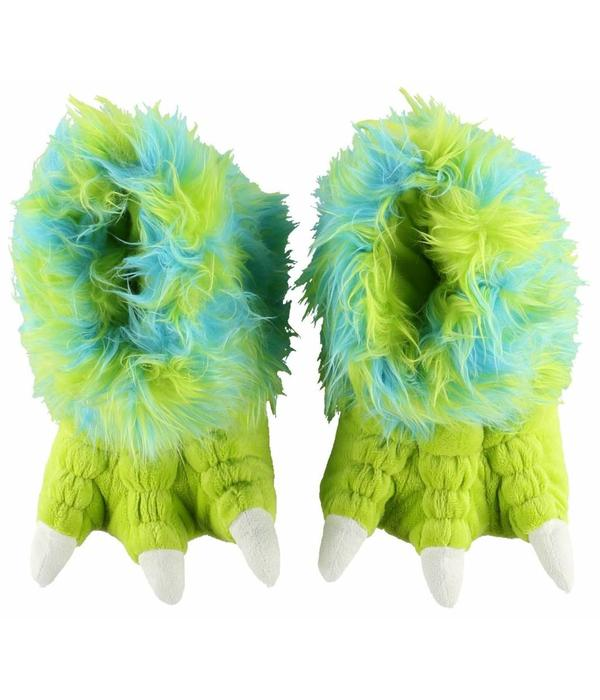 LAZY ONES GREEN MONSTER PAW SLIPPERS