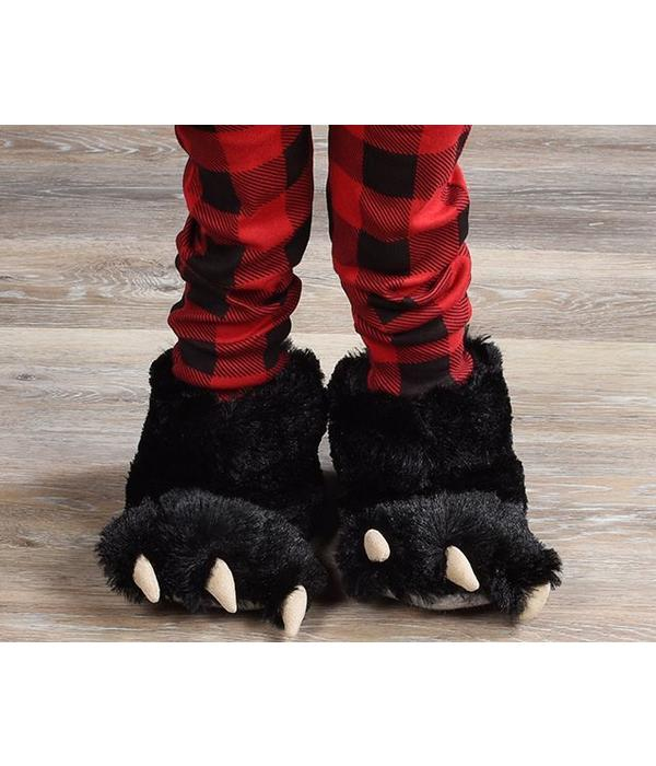 LAZY ONES BLACK BEAR PAW SLIPPERS