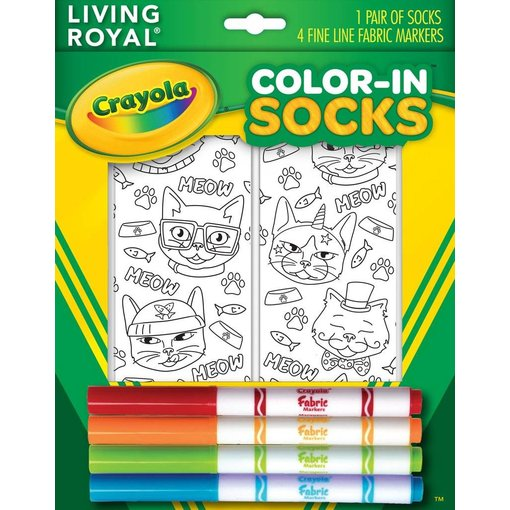 LIVING ROYAL CAT VIBES CRAYOLA COLOR IN SOCKS