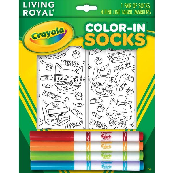 CAT VIBES CRAYOLA COLOR IN SOCKS