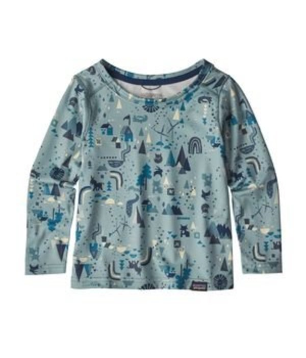 PATAGONIA BABY CAPILENE BASELAYER SET - BLOCK HOUSES CADET BLUE