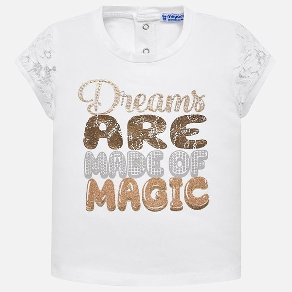 INFANT GIRLS SHORT SLEEVED GLITTER T-SHIRT