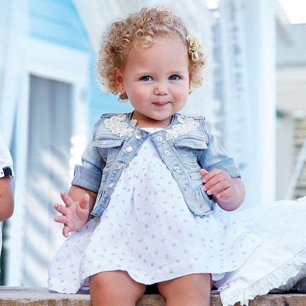 INFANT GIRLS BLEACHED DENIM JACKET - SIZE 6 MONTHS ONLY