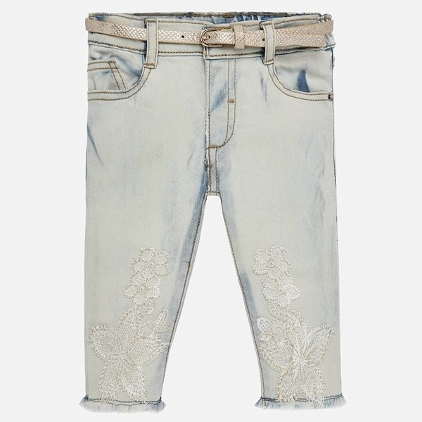 INFANT GIRLS EMBROIDERED DENIM PANTS