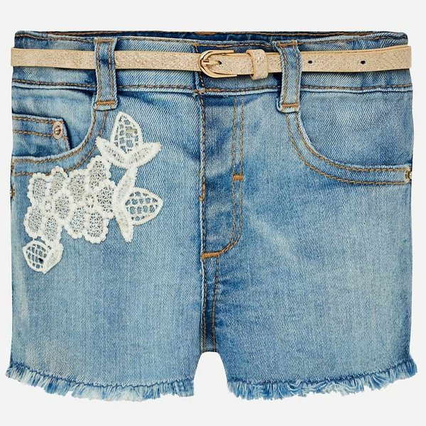 INFANT GIRLS EMBROIDERED DENIM SHORTS