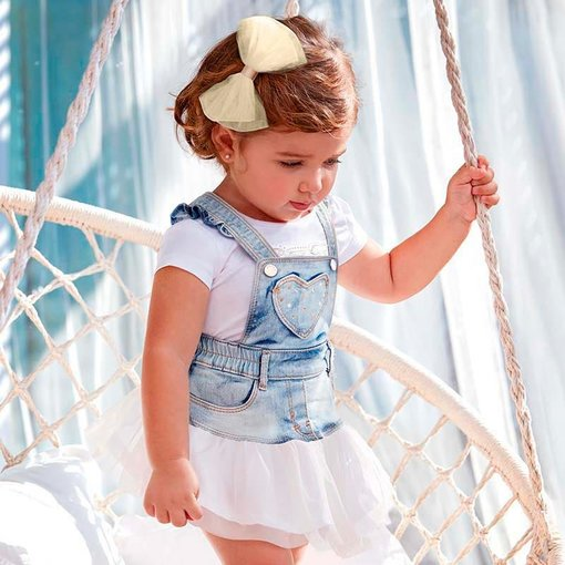 MAYORAL INFANT GIRLS TULLE DUNGAREE SHIRT