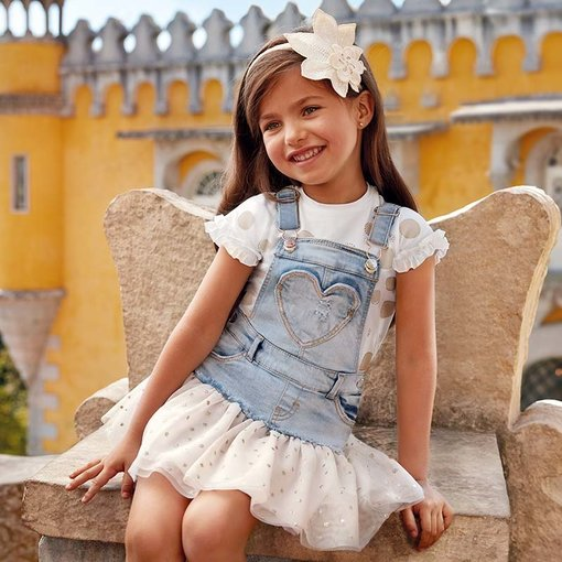 MAYORAL PRESCHOOL GIRLS DUNGAREE SKIRT WITH TULLE