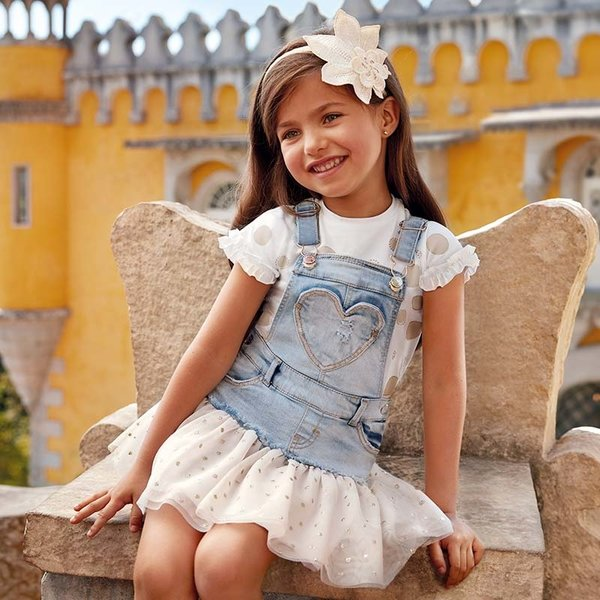 PRESCHOOL GIRLS DUNGAREE SKIRT WITH TULLE