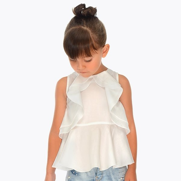 PRESCHOOL GIRLS RUFFLED FRONT BLOUSE