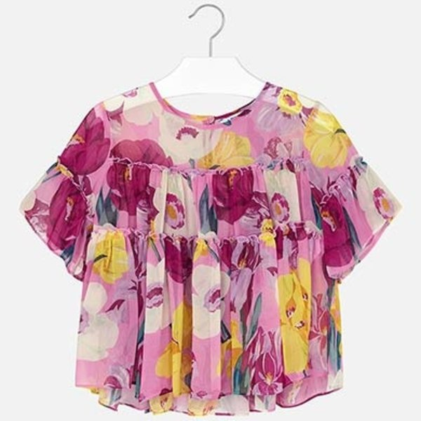 JUNIOR GIRLS PATTERNED CHIFFON BLOUSE