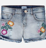 MAYORAL JUNIOR GIRLS DENIM SHORTS WITH APPLIQUE