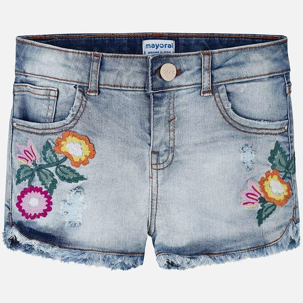 JUNIOR GIRLS DENIM SHORTS WITH APPLIQUE