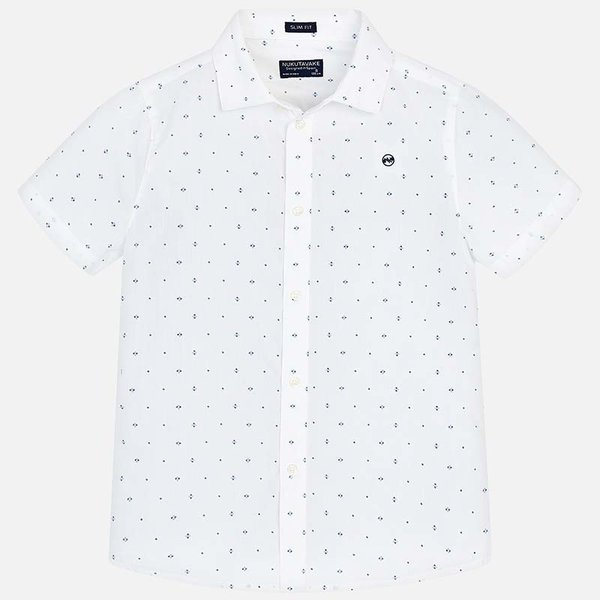 JUNIOR BOYS SHORT SLEEVED PATTERNED SHIRT - WHITE