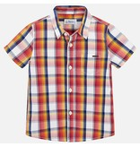 MAYORAL PRESCHOOL BOYS SHORT SLEEVED CHECKERED SHIRT - HAZE