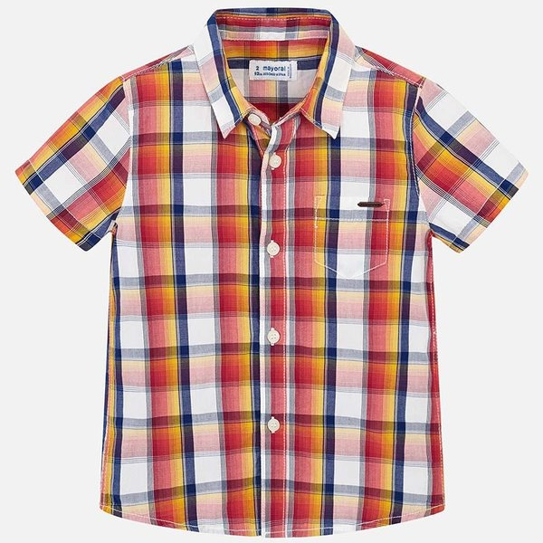 PRESCHOOL BOYS SHORT SLEEVED CHECKERED SHIRT - HAZE